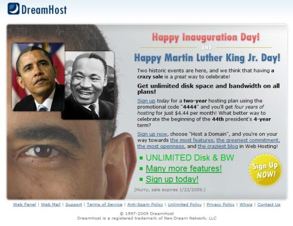 Obama web hosting dreamhost